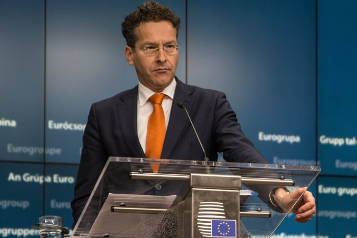 Ο πρόεδρος του Eurogroup Γερούν Ντάισελμπλουμ κατά τη διάρκεια της συνέντευξης Τύπου μετά το πέρας της συνεδρίασης
