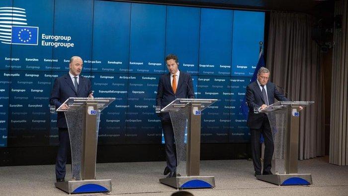 Πιερ Μοσκοβισί, Γερούν Ντάισελμπλουμ και Κλάους Ρέγκλινγκ μετά την τελευταία συνεδρίαση του Eurogroup