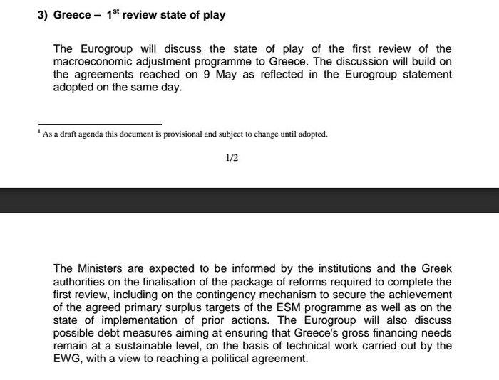 «Κόφτης» και χρέος στην ατζέντα του Eurogroup στις 24 Μαΐου