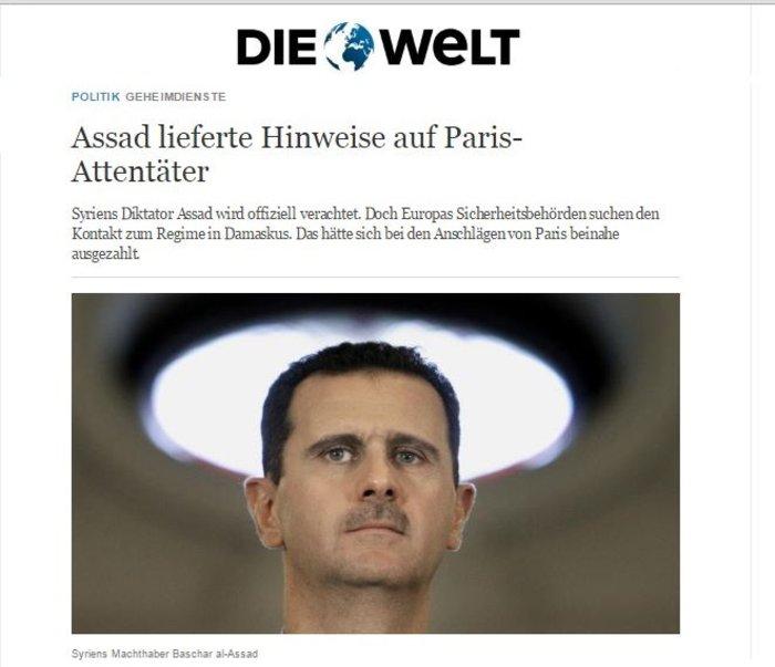 Die Welt: Ο Ασαντ είχε προειδοποιήσει για το μακελειό στο Παρίσι