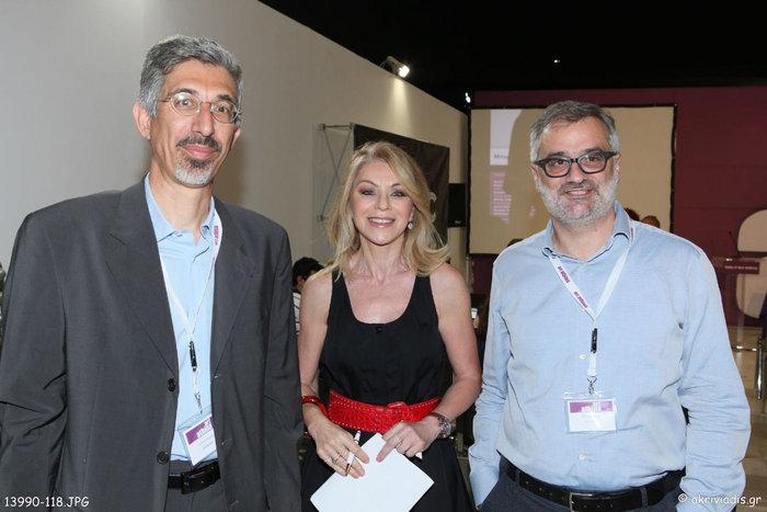 Η ΄Ελλη Στάη ανάμεσα στον γενικό διευθυντή της Art Athina, Αλέξη Κανιάρη και τον γκαλερίστα, Αρσέν Καλφαγιάν.