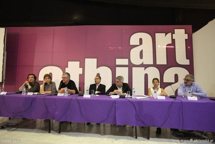 Οι ομιλητές της εκδήλωσης. (Από αριστερά): Α. Παπαδημητρίου, Κ. Κοσκινά, Β. Θεοδωρόπουλος, Μ. Στεφανίδης, Χ. Τεντόμας, Η. Μαργέλου, Α. Καλφαγιάν