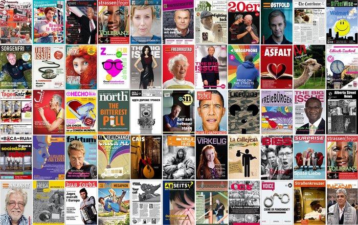 Εξώφυλλα περιοδικών δρόμου απ' όλο τον πλανήτη. Συνολικά, αυτή τη στιγμή κυκλοφορούν 112 περιοδικά δρόμου, σε 35 χώρες.