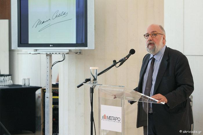 Ο πρόεδρος του ΟΜΜΑ, Ν. Θεοχαράκης στο βήμα του ομιλητή