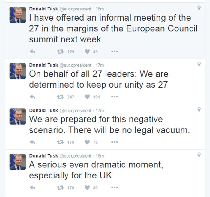 Ο Τουσκ μιλάει πλέον για την Ευρωπαϊκή Ένωση των 27