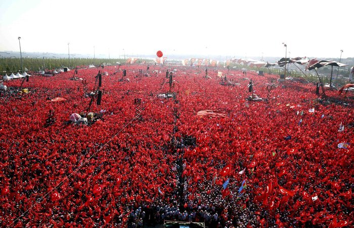 Φωτογραφία από τη συγκέντρωση που πραματοποιήθηκε την Κυριακή στο Γενικαπί, στο νότιο μέρος της Κωνσταντινούπολης