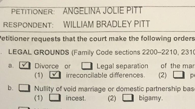 Ιδού η αίτηση διαζυγίου που κατέθεσε η Τζολί