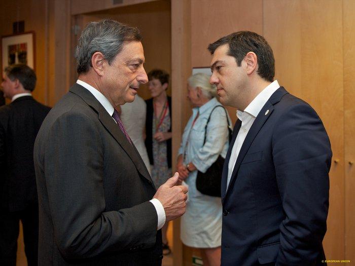 Αλέξης Τσίπρας και Μάριο Ντράγκι κατά τη διάρκεια παλαιότερης συνάντησης τους