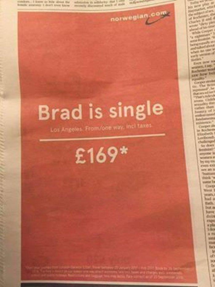 Η πιο πρωτότυπη διαφήμιση για πτήση στο LA: Ο Μπραντ είναι μόνος