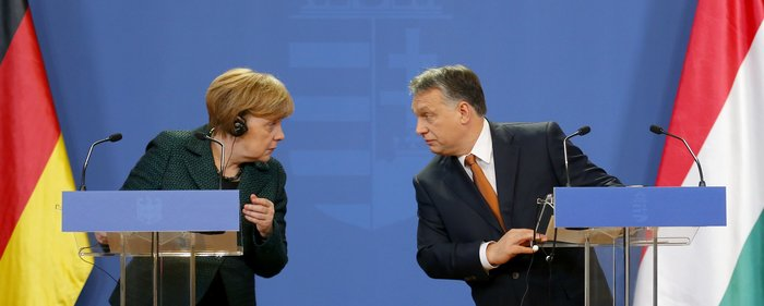 Ο ούγγρος πρωθυπουργός και η γερμανίδα καγκελάριος σε παλαιότερη συνέντευξη Τύπου
