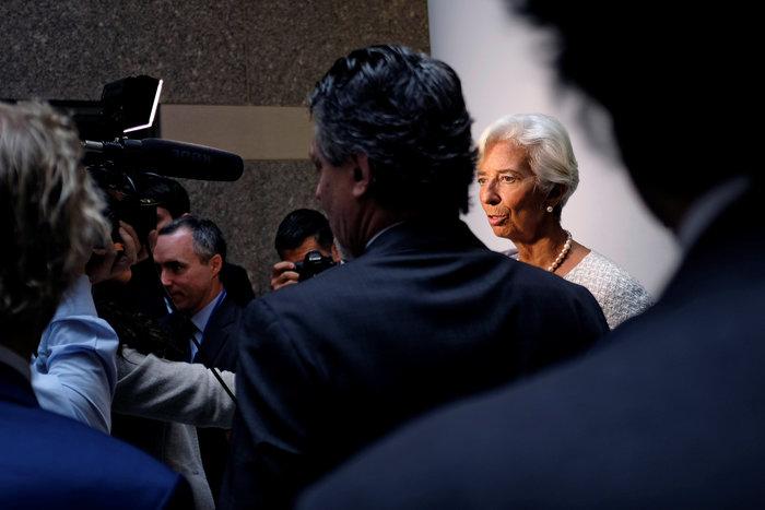 Η γενική διευθύντρια του ΔΝΤ Κριστίν Λαγκάρντ κατά τη διάρκεια της Συνόδου του ΔΝΤ