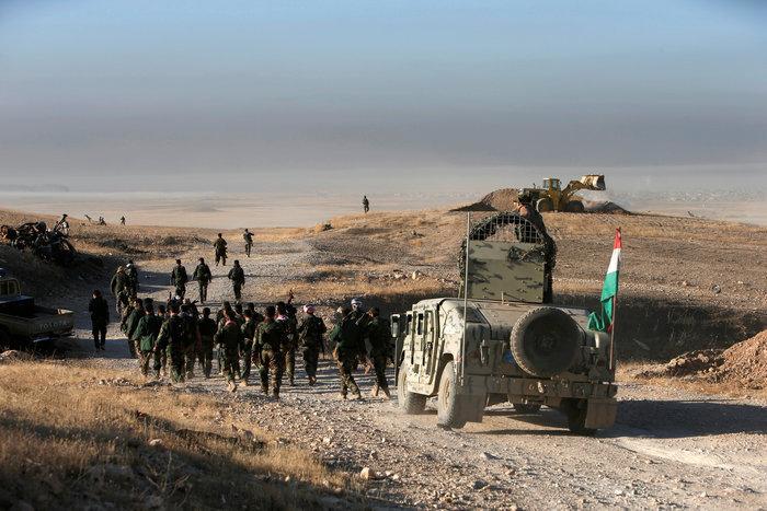 Ιρακινοί στρατιώτες που μετέχουν στην επιχείρηση για την ανακατάληψη της Μοσούλης