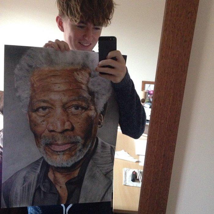 Ταλαντούχος 18χρονος ζωγραφίζει σταρ του Χόλιγουντ με απίστευτη ακρίβεια! - εικόνα 9