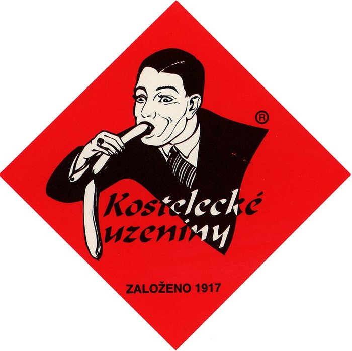 Η Kostelecké uzeniny είναι μια δημοφιλής τσεχική εταιρεία λουκάνικων από το 1917. Είναι εύκολο να καταλάβει κανείς γιατί οι Τσέχοι δεν βρήκαν το λογότυπο τόσο διασκεδαστικό