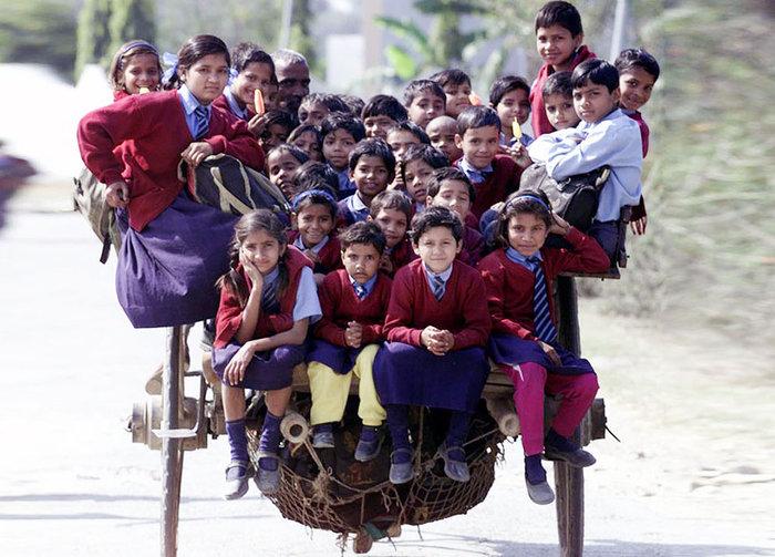 Μαθητές σε καλάθι που κουβαλά ένα άλογο, στο δρόμο για το σχολείο. Δελχί, Ινδία