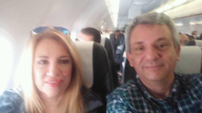 Η selfie της Φώφης μέσα από το αεροπλάνο