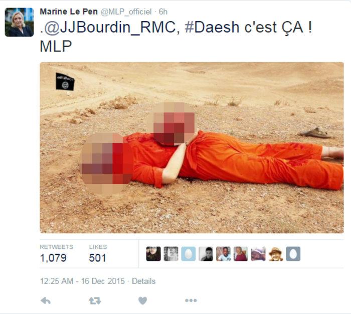 Εξαλλη η Λεπέν ανέβασε φωτογραφίες εκτελέσεων του ISIS στο Τwitter