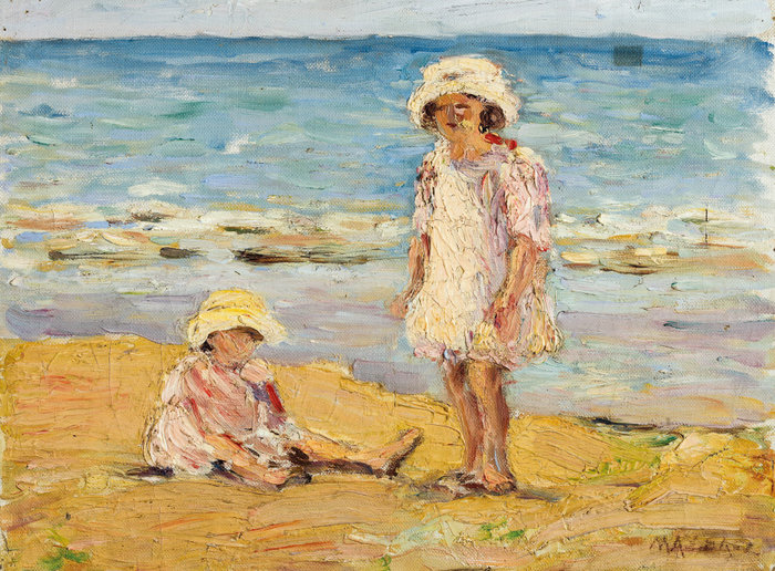 Κοριτσάκια στην άμμο, 1920, λάδι σε καμβά επικολλημένο σε χαρντ-μπορντ 26,5 x 34,8 εκ.