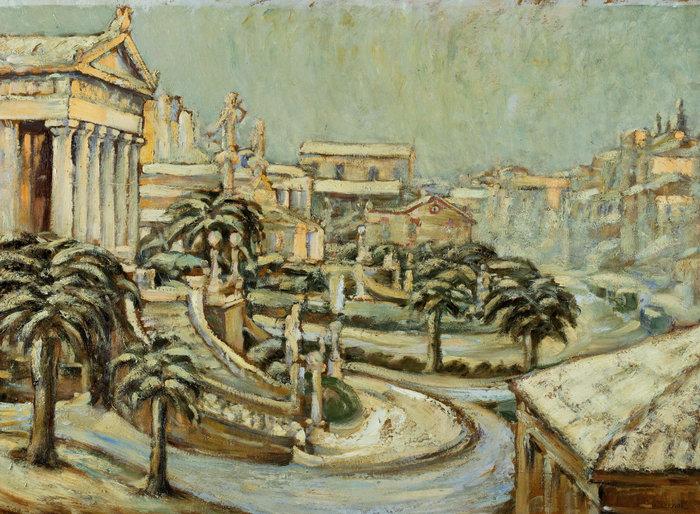Χιονισμένη Αθήνα, 1920-25, λάδι σε χαρτόνι επικολλημένο σε κόντρα πλακέ 69,3 x 97,6 εκ.