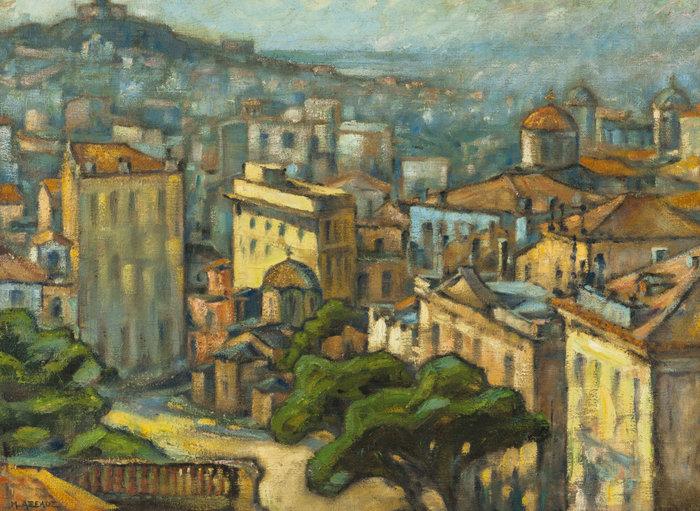 Άποψις των Αθηνών, 1954-55, λάδι σε καμβά 63,9 x 84,5 εκ.