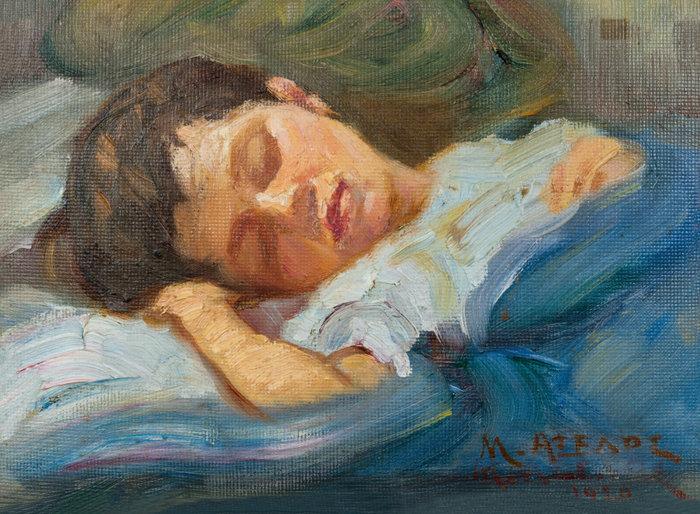 Ο ύπνος, 1918, λάδι σε κόντρα πλακέ 17,9 x 23,9 εκ.