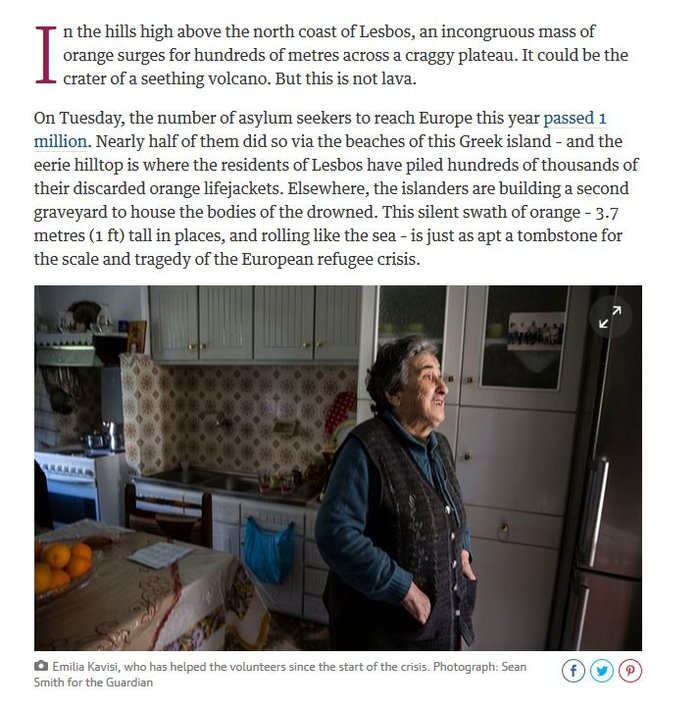 Η γιαγιά-σύμβολο της Λέσβου που τάισε το προσφυγόπουλο μιλά στον Guardian