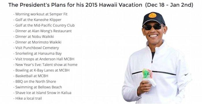 Οι χλιδάτες διακοπές 71 εκατ. δολαρίων του προέδρου Ομπάμα