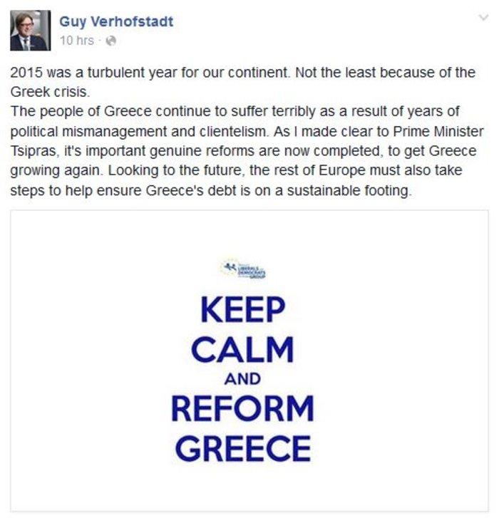 To μήνυμα του Φερχόφσταντ στο Facebook: Keep calm and reform Greece