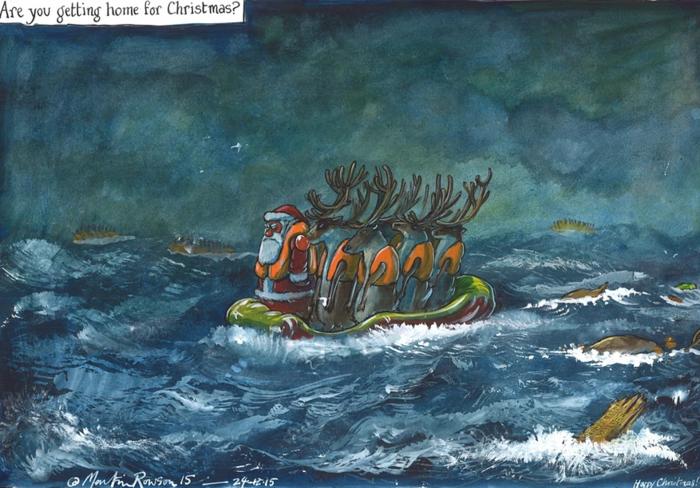 Συγκλονιστικό σκίτσο του Guardian: Ο πρόσφυγας Άγιος-Βασίλης