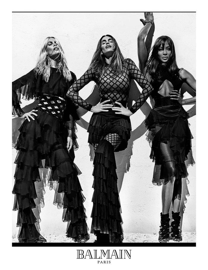 Η Cindy, η Claudia και η Naomi στη νέα καμπάνια Balmain - εικόνα 3