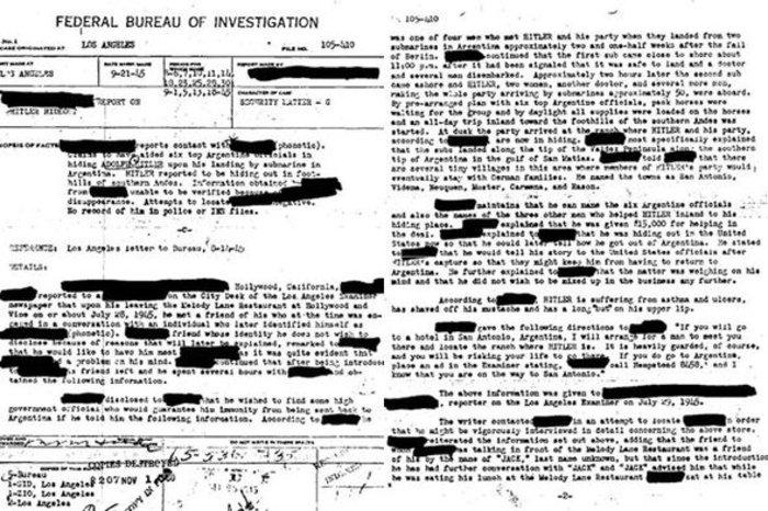 Скан рассекреченного отчета ФБР о бегстве Гитлера в Южную Америку через Канарские острова.