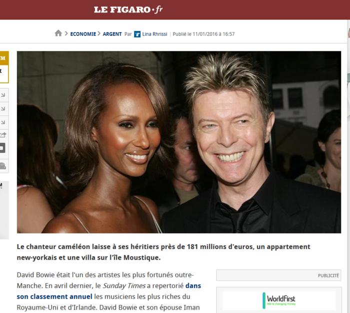Le Figaro: O David Bowie αφήνει στους κληρονόμους του 181 εκατ.