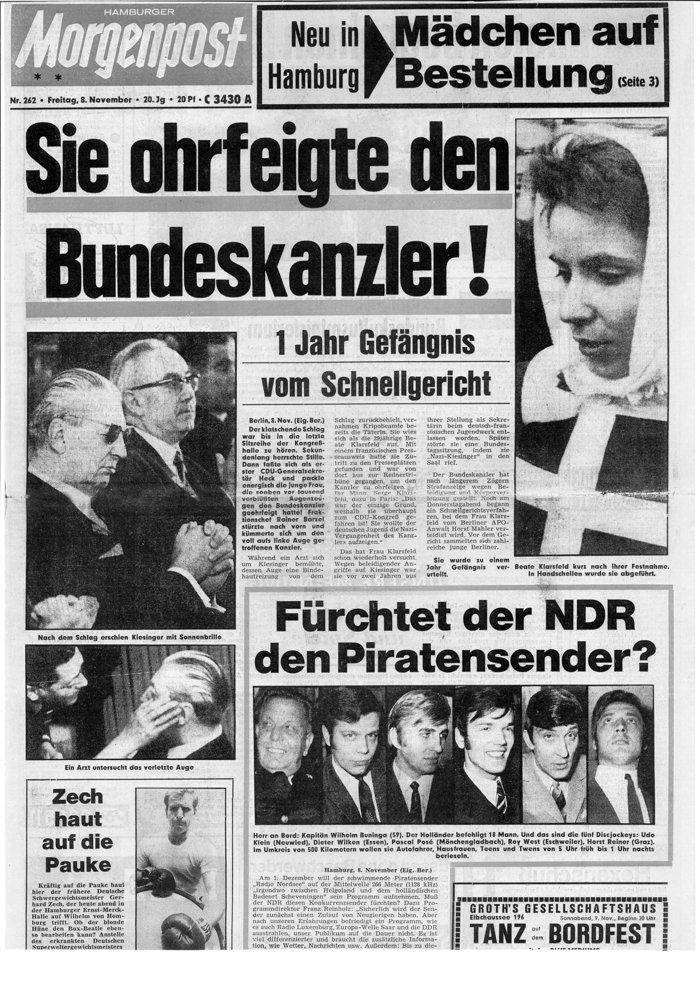 Στις 8/11/1968 το χαστούκι που έδωσε την προηγούμενη η Μπεάτε στον καγκελάριο Κίζινγκερ, με αποτέλεσμα την καταδίκη της σε ένα χρόνο φυλάκισης, γίνεται πρωτοσέλιδο σε πολλές γερμανικές εφημερίδες όπως η Morgenpost