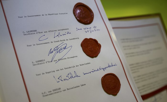 To έγγραφο της Συνθήκης Σέγκεν που βρίσκεται στο Ευρωπαϊκό Μουσείο Σέγκεν