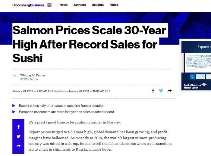 Bloomberg: Σε υψηλά 30ετίας οι τιμές του σολομού, ρεκόρ πωλήσεων στο σούσι!