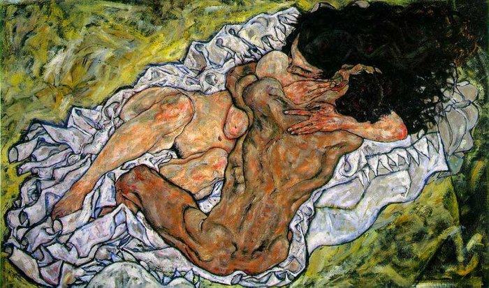 Schiele,Egon. Umarmung (Embrace)- Liebespaar III (Lovers III), 1917,