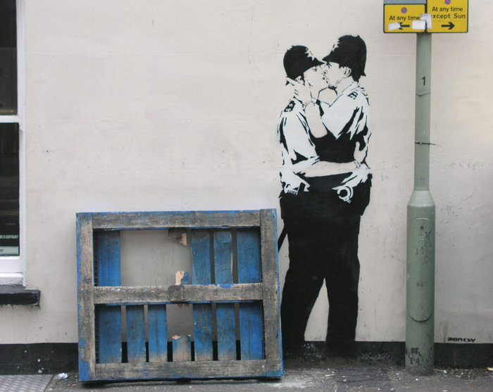 Banksy, The Kissing Coppers, 2004, Brighton