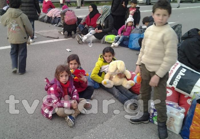 Διαμαρτυρία προσφύγων στις Θερμοπύλες