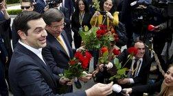 Τσίπρας και Νταβούτογλου μοίρασαν τριαντάφυλλα σε γυναίκες δημοσιογράφους