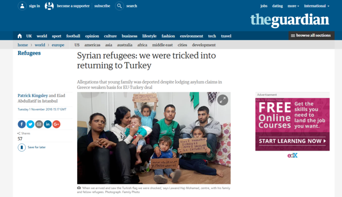 Σύροι πρόσφυγες καταγγέλλουν ότι τους ξεγέλασαν στην Ελλάδα & τους απέλασαν