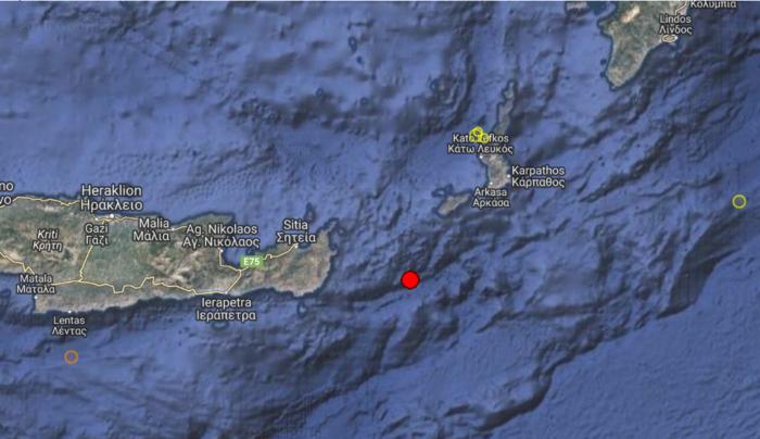 Σεισμική δόνηση μεταξύ Δωδεκανήσου και Κρήτης