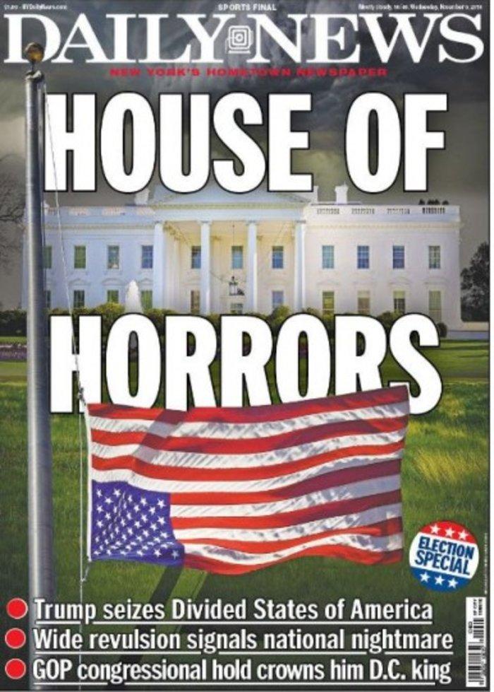 New York Daily News για νίκη Τραμπ και Λευκό Οίκο: «Το σπίτι του τρόμου»