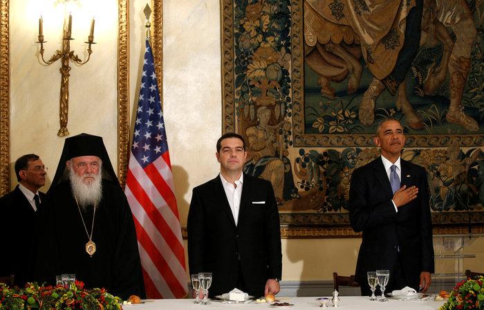 Μπάρακ Ομπάμα, Αλέξης Τσίπρας και Αρχιεπίσκοπος Ιερώνυμος