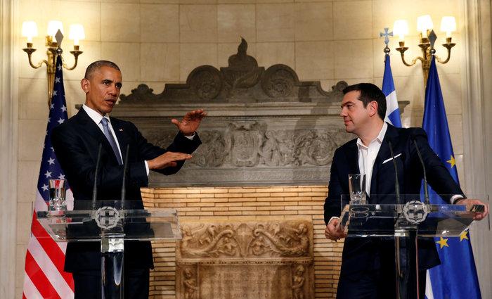 Μπάρακ Ομπάμα και Αλέξης Τσίπρας κατά τη διάρκεια της κοινής συνέντευξης Τύπου