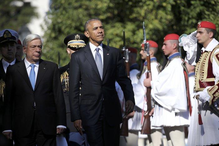 Μπάρακ Ομπάμα και Προκόπης Παυλόπουλος στο προεδρικό Μέγαρο
