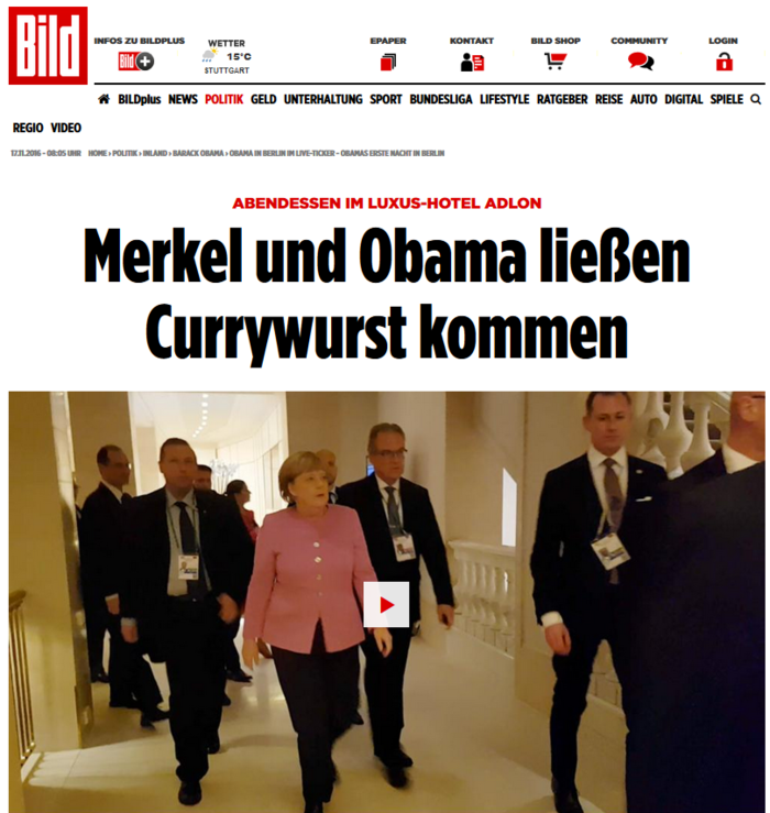 Oμπάμα και Μέρκελ έφαγαν και ...«βρώμικο» στο Βερολίνο