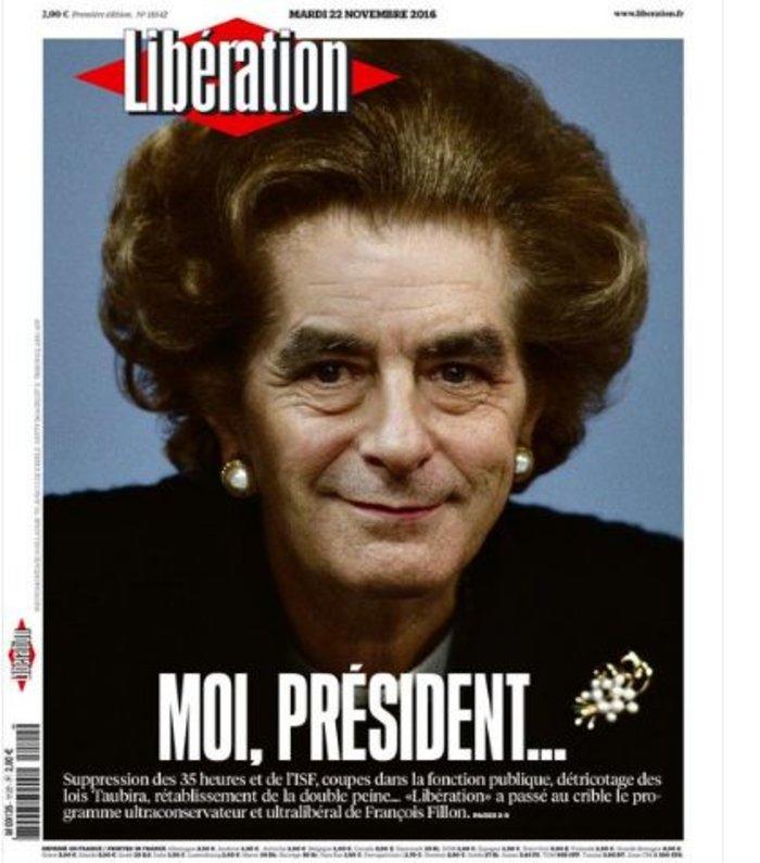 Ο Φιγιόν αλα Μάργκαρετ Θάτσερ στο εξώφυλλο της Liberation