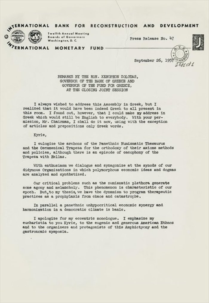 Ο λόγος του εκφώνησε ο Ξ. Ζολώτας στο ΔΝΤ στα αγγλικά με λέξεις ελληνικής προέλευσης, 26.9.1957.