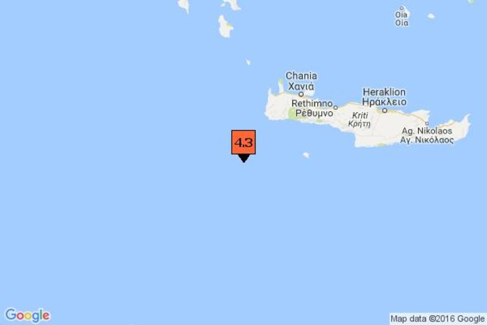 Σεισμός 4,3 βαθμών της κλίμακας Ρίχτερ έξω από την Κρήτη