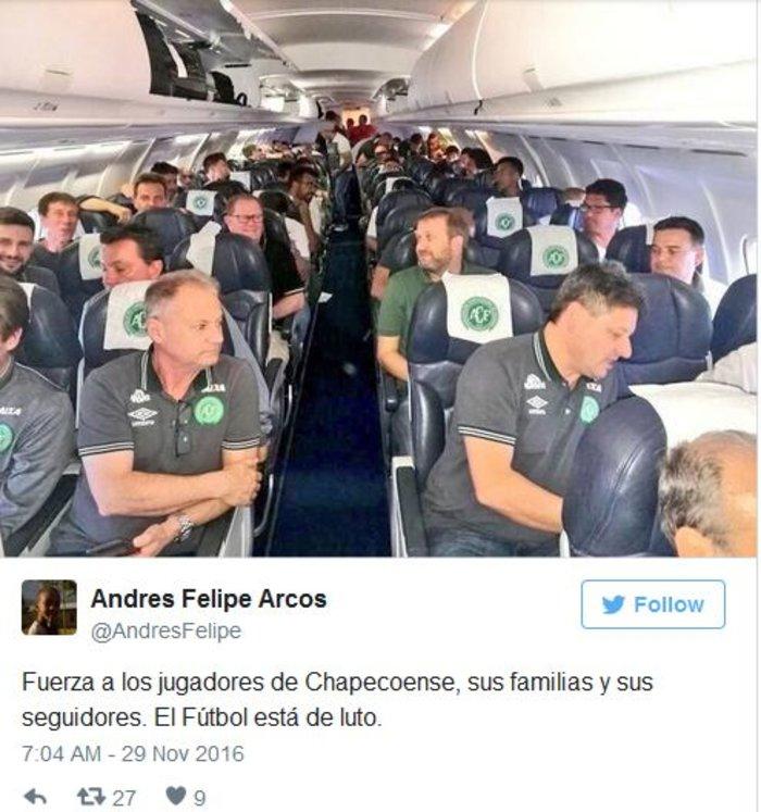 Οι ποδοσφαιριστές της Chapecoense Real που μετέβαιναν στο αεροσκάφος